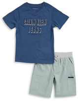Calvin Klein Jeans Boys 2-7 Logo Tee and Cargo Shorts Set