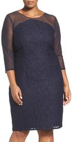 Adrianna Papell Plus Size Women's Lace & Mesh Sheath Dress