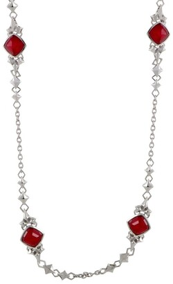 Stephen Webster Superstud Womens Silver Coral and Quartz Necklace