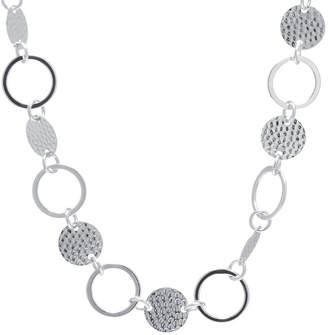 SILVER TREASURES Silver Treasures Hammered Disc And Circle Pure Silver Over Brass 30 Inch Statement Necklace