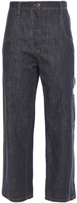 Brunello Cucinelli Bead-embellished Cropped High-rise Straight-leg Jeans
