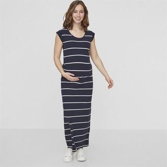Mama Licious Mamalicious Womens Ally Striped Maxi Dress Navy Blazer