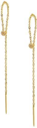 Celara 14K Yellow Gold & Diamond Loop Threader Earrings