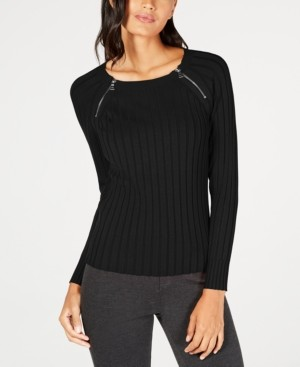 INC International Concepts I.n.c Petite Zip-Detail Ribbed Sweater, Created for Macy's