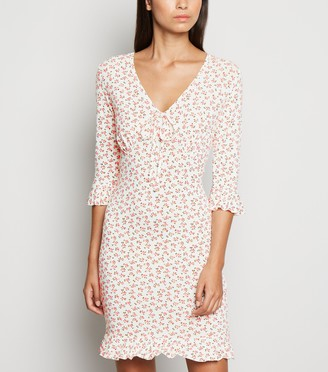 New Look Floral Jersey Tie Front Mini Dress