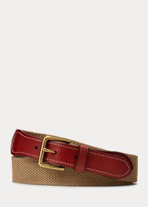 Ralph Lauren Webbed-Cotton-and-Leather Belt