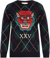 Gucci Dragon-appliqué argyle-intarsia wool sweater