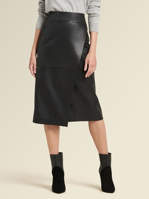 DKNY Leather Wrap Skirt