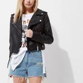 River Island Womens Petite black faux leather biker jacket