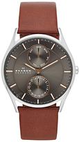 Skagen Skw6086 Holst Single Chronograph Leather Strap Watch, Brown/grey