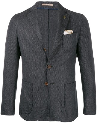 Paoloni Textured Logo Brooch Suit Jacket