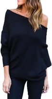 Suvotimo Women Casual Off Shoulder Batwing Sleeve Knit Cardigan Sweater Tops L
