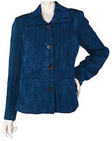 George Simonton As Is Button Front Jacquard Jacket with Front Pockets