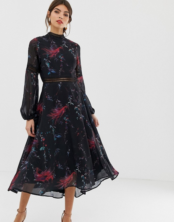 Thumbnail for your product : Hope & Ivy open back bird long sleeve skater dress