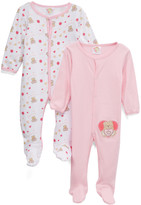 Sweet & Soft Girls' Footies Light - Light Pink & White 'Sweet Bear' Footie Set - Infant