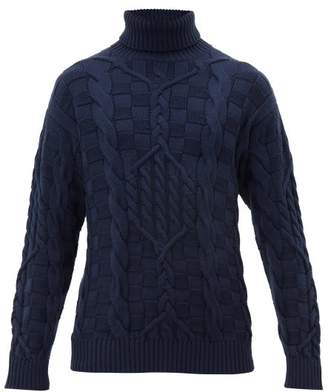 Etro Roll Neck Cable Knitted Wool Sweater - Mens - Blue
