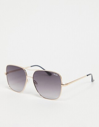 Quay Stop and Stare womens oversized square sunglasses in gold