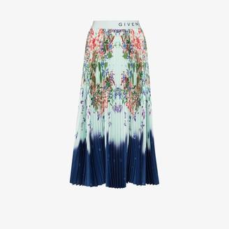 Givenchy High Waist Pleated Floral Midi Skirt