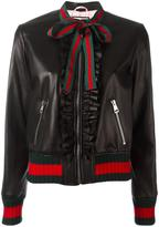 Gucci ruffle bomber jacket - women - Cotton/Lamb Skin/Polyamide/Wool - 44