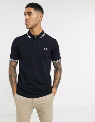 Fred Perry twin tipped logo polo in navy/white