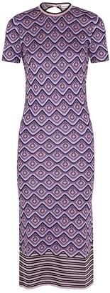Paco Rabanne Purple geometric metallic-knit midi dress
