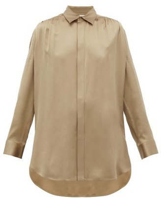 Bottega Veneta Gathered-shoulder Silk-satin Shirt - Beige