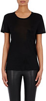 Saint Laurent Women's Washed Silk Jersey T-Shirt-BLACK
