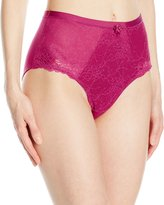 Wonderbra Women's Medium Control Panty with Chantilly Lace, Deep Cerise/Deep Cerise Lace