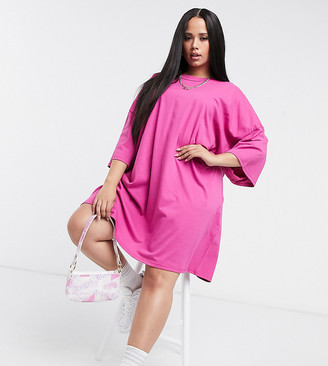 ASOS DESIGN Curve oversized t-shirt dress in pink