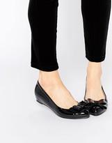 Glamorous Black Patent Ballerina Bow Shoes