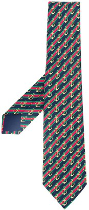 Hermes Pre-Owned 2000's striped anchor print tie