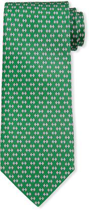Salvatore Ferragamo Lympic Dumbbells Silk Tie, Green