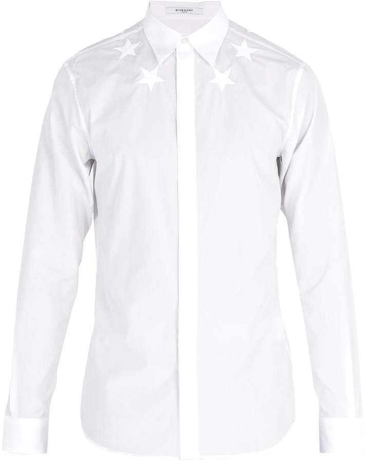 Givenchy Star-embroidered cotton-poplin shirt