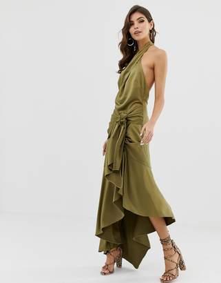 Asos Design DESIGN sash side midi dress in satin