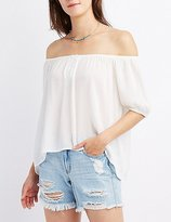 Charlotte Russe Off-The-Shoulder Button Peasant Top