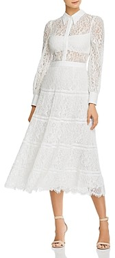 Alice + Olivia Anaya Tiered Midi Lace Sheath Dress