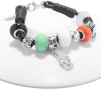 Swarovski Golden Moon Women's Bracelets Multi - Black Sandal & Bead Leather Bracelet With Crystals
