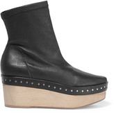 Rick Owens Embellished leather wedge ankle boots