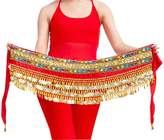Yeeco Belly Dance Waist Chain Waist Performance Costume 328 Gold Coins (Black)