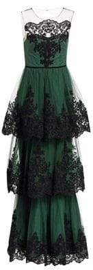 Marchesa Women's Embroidered Tiered Lace Gown - Emerald - Size 8