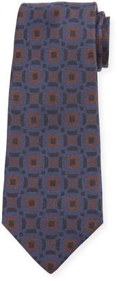 Kiton Men's Art Deco Squares Silk Tie, Brown