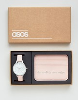 Asos 'The World Is Your Oyster ' Watch and Card Holder Set