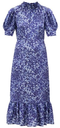 Sea Celine Mottled-print Cotton-blend Dress - Indigo