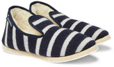 Armor Lux Shearling-lined Striped Wool Slippers - Navy