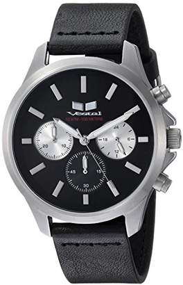 Vestal Heirloom Chrono Leather Stainless Steel Japanese-Quartz Watch with Strap