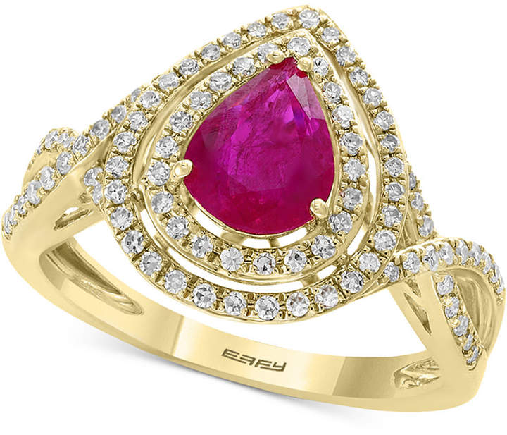 Effy Certified Ruby (9/10 ct. t.w.) and Diamond (1/3 ct. t.w.) Statement Ring in 14k Gold