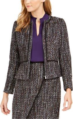 Calvin Klein Tweed Zip-Front Collarless Jacket
