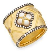 Freida Rothman Metropolitan Mother-Of-Pearl, White Stone & 14K Yellow Gold Vermeil Ring