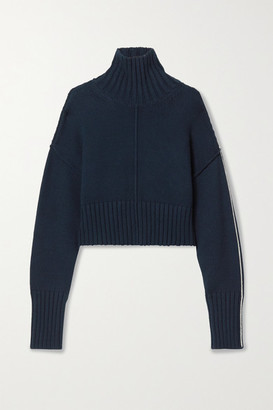Peter Do Cropped Knitted Turtleneck Sweater - Midnight blue