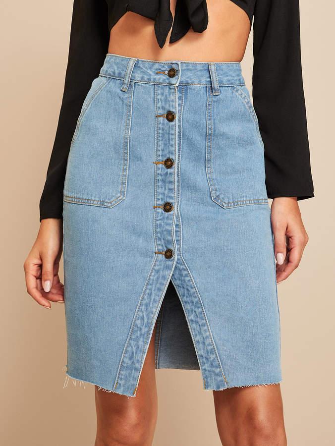 eb99ca6c7 Front Slit Denim Skirt - ShopStyle